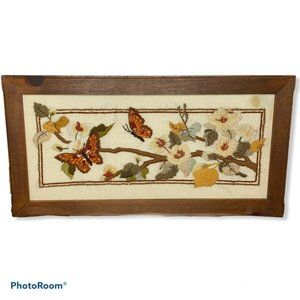 VTG 70s Butterfly Floral Tree Fall Crewel Art